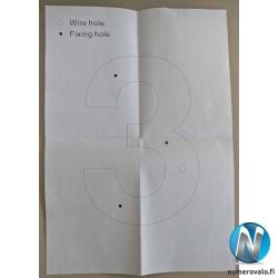 Asennuskuva, paperin avulla on helppo porata reiät oikeaan kohtaan